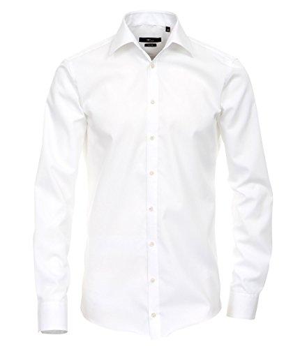 Venti Herren Hemd (Extra Langer Arm 72cm) Slim Fit/Bügelfrei/100% Baumwolle Weiß 46