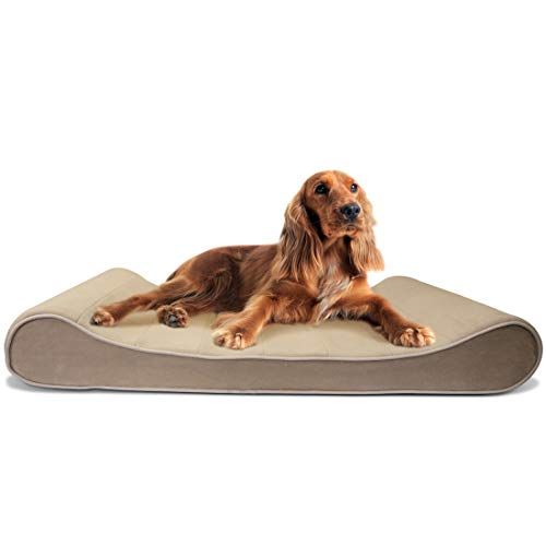 Furhaven Pet Dog Bed | Memory Foam Microvelvet Luxe Lounger Pet Bed for Dogs & Cats, Clay, Large