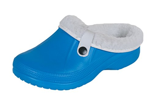 Damen Herren Kinder Clogs Pantoffel Schuhe Gartenschuhe Hausschuhe Unisex gefüttert - Farben: Blau, Berry, Weiß, Rosa, Braun, Anthrazit - Größen: 30-45 Blau