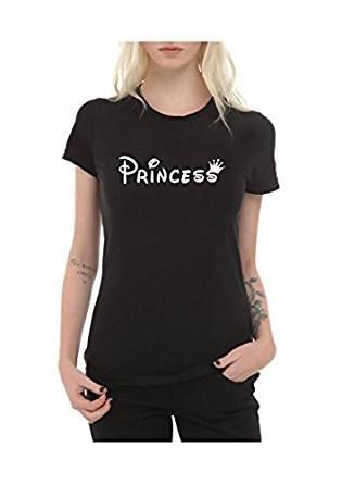 Frauen T-Shirt mit Aufdruck in Schwarz S Princess Prinzessin Krone Design Girl Top Mädchen Shirt Damen Basic 100% Baumwolle kurzarm (S, Princess)