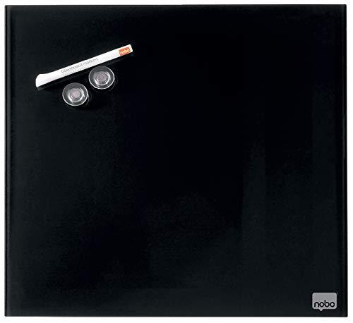 Nobo Diamond Glastafel, Magnetisch, 300 x 300 mm Quadratisch, Inkl. Glastafelmarker, Magneten und Montage-Set, Schwarz, 1903950