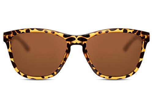 Cheapass Sonnenbrille Braun UV-400 Sport-liche Designer-Brille Leopard-Print Verlaufsglas Plastik Damen