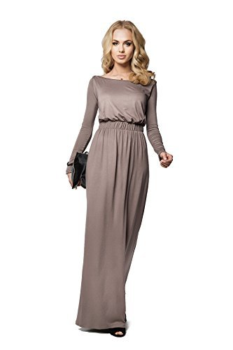 FuturoMode Elegant Empire Maxi Kleid Gesamtlänge U-boot-ausschnitt Langärmlig Cocktail Style Offen Halsausschnitt Größe eu 36-46 UK FM08 - Cappuccino, 46 Frauen Maxi Abend Kleider