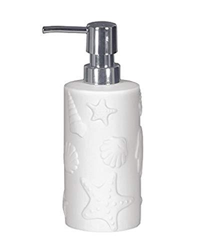 takestop® jabonera Porta jabón Cilíndrico Marino Blanco esy 10321Trama Redondo cm. cerámica Estrella Concha dispensador baño jabón líquido