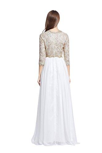 Beauty-Emily Maxi 3/4 Hülse V-Ausschnitt A-Linie Paillette Abendkleider Weiß