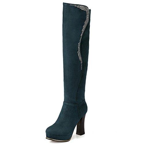 TAOFFEN Damen Mode Synthetik Wildleder Blockabsatz Shcuhe Reißverschluss Lange Stiefel Grün
