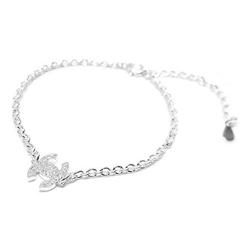 Vision Creations Silber/Gold Kette Halskette Anhänger (164-385-CC-12) Geschenk für Damen Mädchen Kettenlänge 44CM Im Geschenkkarton (White)