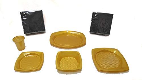 Elegi ️ Einwegteller aus Kunststoff Pack Fiesta 145 Teile Gold (20 Becher, 18 Schalen, 10 Tabletten, 25 Teller, 72 Schwarze Servietten) Geburtstag, Party, Picknick, Kinder, Baby ️