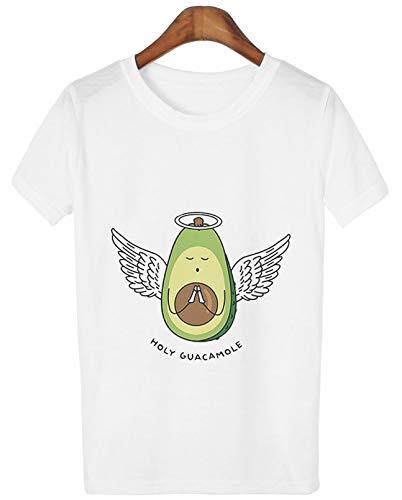 Linda Camiseta impresión de Aguacate Dibujos Animados Manga Corta Blanca Camiseta Mujer Fresco Casual Vegano para Primavera Verano de Uso Diario a la Moda (S)