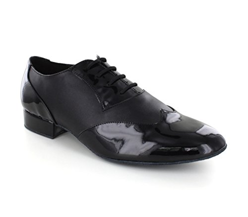Minitoo da uomo jf251003 color block Lace Up PU pelle scarpe da danza latina Black