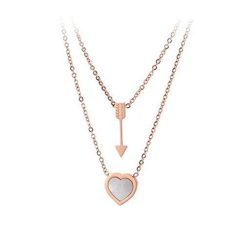 Bellamira 18K Rose vergoldet, Herz und Pfeil Anhänger eingelegten mit echtem Perlmutt Halskette Schmuck für Frauen Mädchen Geschenk Box (18 Pfeile)