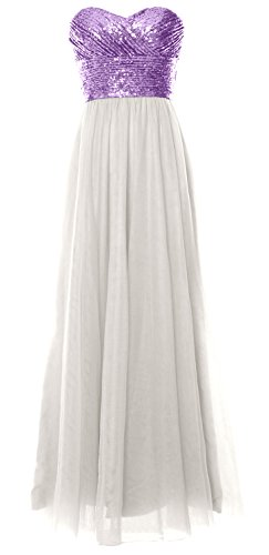 MACloth Women Long Bridesmaid Dress Strapless Sequin Wedding Party Formal Gown Lavender-Ivory