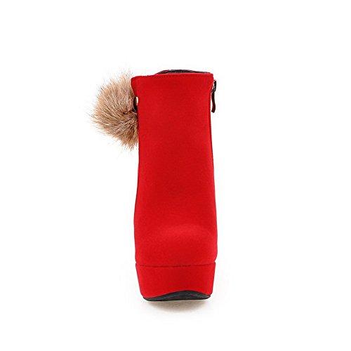 AgooLar Damen Mattglasbirne Reißverschluss Rund Zehe Niedrig-Spitze Stiefel Rot