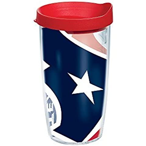 Tervis NFL Houston Texans Colossal Wrap Individual Tumbler with Red Lid, 16 oz, Clear by Tervis