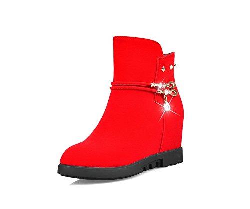 AllhqFashion Damen Niedrig-Spitze Reißverschluss Mattglasbirne Hoher Absatz Stiefel Rot