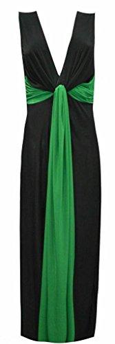 Femmes Mesdames Plissé Twist Knot Panel sans manches Grecian profond contraste Plunge V Neck Cadrage Party Casual Bride Soirée longue Maxi Dress Taille XL XXL XXXL 44 46 48 50 52 54 Vert
