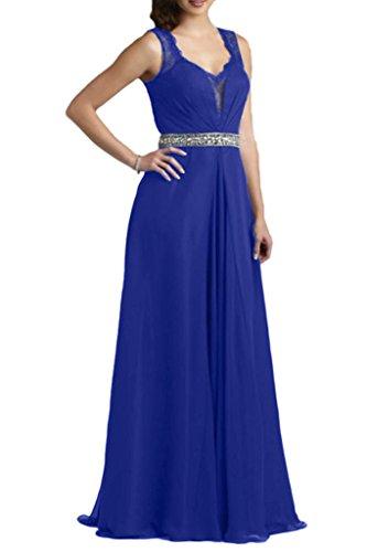 Royaldress Royal Blau Elegant Chiffon Langes Abendkleider Partykleider Brautmutter A-linie Rock Mit Spitze Royal Blau