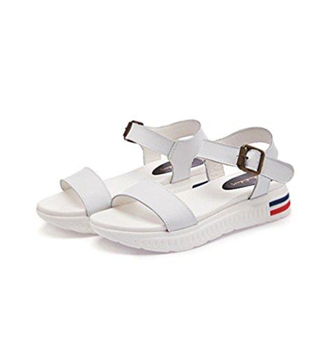 Damen Sandalen Einfache Schick Bequem Flach Atmungsaktive Peep-Toe Plateau Gummisohle Flexibel Leicht Rutschfest Schnalle Rutschfest Halbschuhe Pantolette Weiß