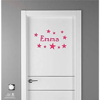 Artstickers Kinder Aufkleber für Möbeldekorationen, Türen, Wände. Name: Emma, In pink, der Name in 20 cm + Zehnerpaket Sterne für Freie Anbringung.