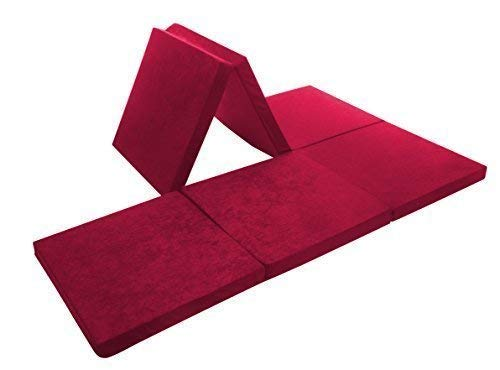 Tazado Multitalent Komi für Jede Sitz- und Schlafgelegenheit: 6-Fach Faltbare Doppel-Klappmatratze. Liegefläche 190 x 126 x 7cm. Bezug: Pflegeleichte Mikrofaser (rot)