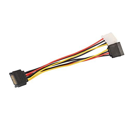 Preisvergleich Produktbild 15-poliger SATA-Stecker auf 4-polige IDE-Molex-Buchse + SATA-Netzkabelbuchse 18AWG 1 bis 2-Netzleitung für Motherboard und Festplatte