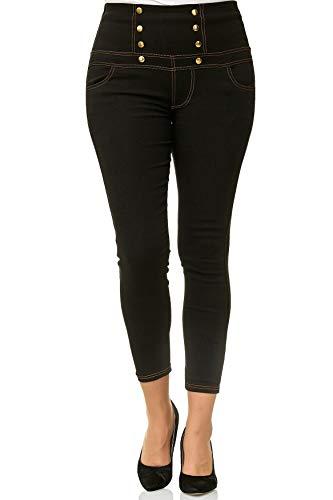 ArizonaShopping Damen Treggings High Waist Röhre Corsagen Jeans Hose Übergröße Plus Size D2489, Farben:Schwarz, Größe Damen:3XL/4XL (Plus Jeans-corsagen Size)