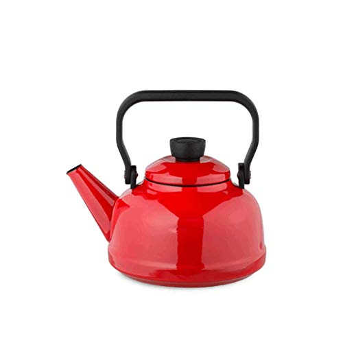 JXLBB Émail émaillé émaillé bouilloire cuisinière à gaz théière à fond plat universelle grande capacité brillant lisse facile à entretenir (Capacité : 1.6L, Couleur : Red)
