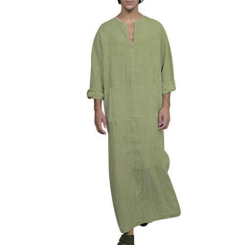 Adisputent Herren Ethnisch Robe Lose Baumwolle Leinen Gestreift Kurzarm Dünn Jahrgang Kleid Kaftan V-Ausschnitt Nachtwäsche Mit Taschen - Grüne Herren-robe
