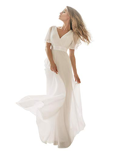 2d6ca23b2ea Ever Pretty Women's Summer Wedding Party Dresses Evening, White 1, ...