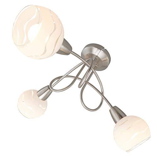 Briloner Leuchten Deckenleuchte, Deckenlampe 3 geschwungene Arme mit Spots, toller Glas-Aufdruck, Metall, matt-nickel, max. 40 W, 45.5 x 45.5 x 25 cm -