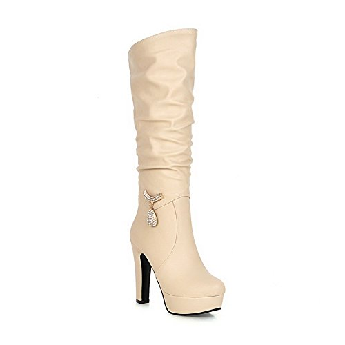 AgooLar Damen Mitte-Spitze Gemischte Farbe Rund Zehe Hoher Absatz Stiefel, Weiß, 39