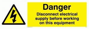 """Viking Schilder we74-l62-v """"Gefahr Trennen-vor Arbeiten auf dieser Ausrüstung"""" Zeichen, Vinyl, 200mm H x 600mm W"""