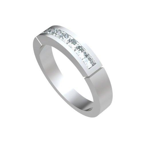 0,91 quilates H/SI1 Anillo de half Eternity de diamante para mujer con Princesa diamantes en 18k Oro blanco