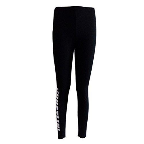 Pantalons sport, Ineternet Femmes Sexy impression des lettres Stretch pantalons de yoga Slim Leggings Noir