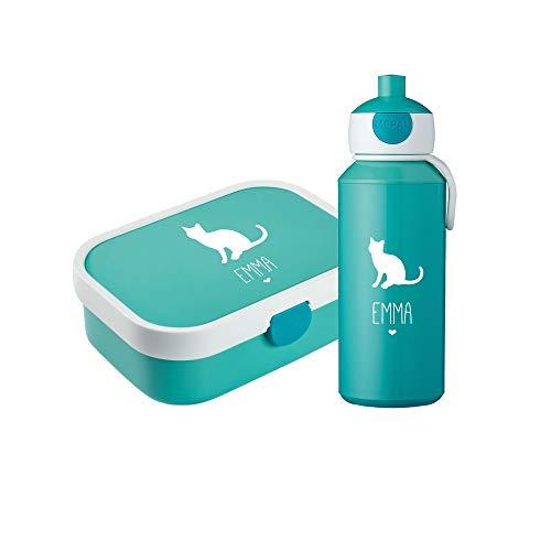 4you Design Set ✶Brotdose & Trinkflasche Silhouette + Name✶ versch. Motive & Farben ✶Mepal Campus + Bento Box & Gabel ✶Schule ✶Kind (Katze, Türkis) (Für Oster-ideen Kinder)