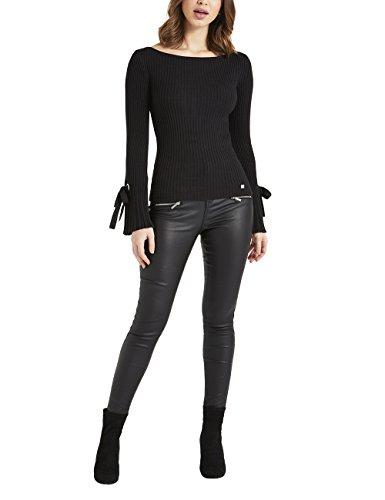 Lipsy Damen Trompetenärmel-Pullover mit Ösen und Schleifen Schwarz 38 (Rollkragen Jersey Seide)