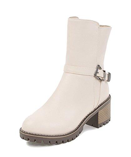 AgeeMi Shoes Donna Zip Punta Chiusa Tonda Invernali Bassi Moda Comode Stivali,EuX80 Beige 38