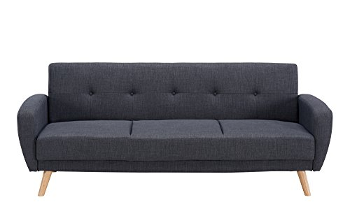 Mobilier Deco Canapé Convertible scandinave 3 Places Gris Anthracite
