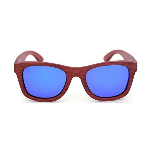 Yiph-Sunglass Sonnenbrillen Mode Retro Ecologic Rote Bambus Sonnenbrille Farbiger Objektiv UV400 Schutz Für Männer Frauen. (Farbe : Blau)
