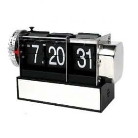 (26-063) *** Horloge / Réveil digital RÉTRO / Vintage *** Heure, minute et seconde + Alarme. Affichage aéroport ou gares. Cadeau tendance. Acier inoxydable + plastique - NEUF