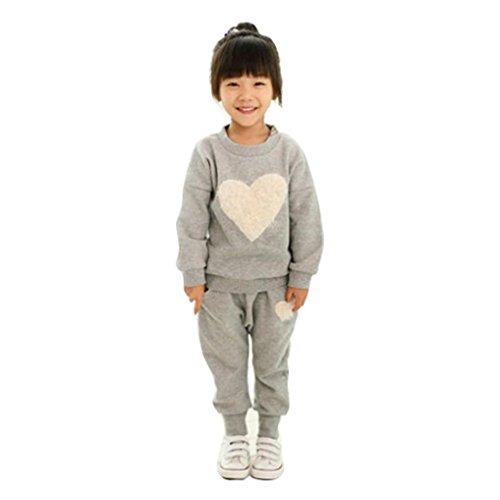 Kobay Kinder Kleidung Langarm Herz Druck Trainingsanzug + Harem Hosen Outfits Set (110 / 4Jahr, Grau) (4t Harem Hose)