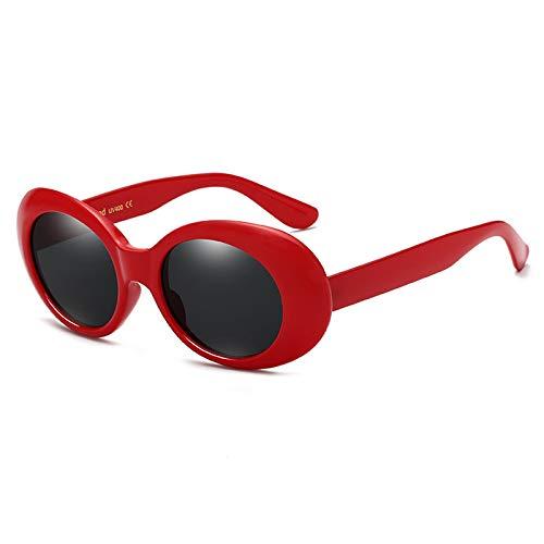 LUOSHUI Europäische und amerikanische Mode Damen Sonnenbrille Retro Herren Sonnenbrille Hip-Hop-Stil Rot gerahmte Schwarze Flocken