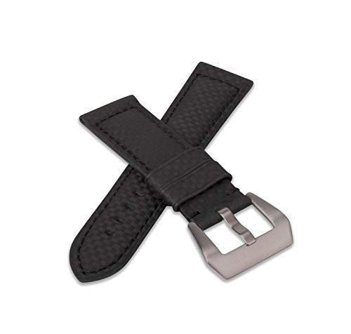 In fibra di carbonio effetto colore nero cinturino in pelle 24/22 con...