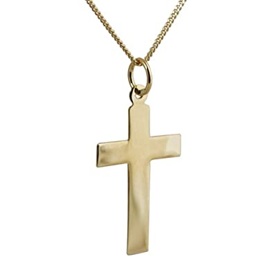 18ct Gold 24x14mm plain flat latin Cross with curb Chain