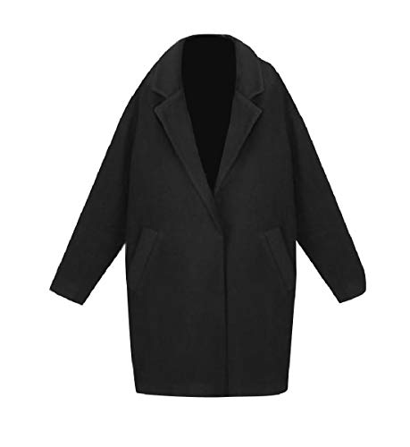 CuteRose Womens Loose Jackets Outwear Wool Blended Long Warm Worsted Coat Black S Womens Wool Toggle