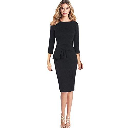 feiXIANG Frauen Elegante Kleider halskrause3 / 4 - Kleid Rundhals Rock Arbeiten Partei Kleid Frau Falten Retro Business Kleid Damen Skaterkleid (M, Schwarz)