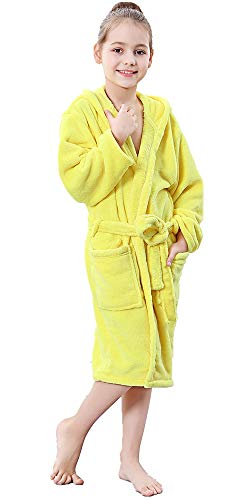 COSMOZ Kinder Bademantel mit Kapuze für Mädchen und Jungen aus Mikrofaser - Super Kuschelig und Weich,Gelb,140 cm -