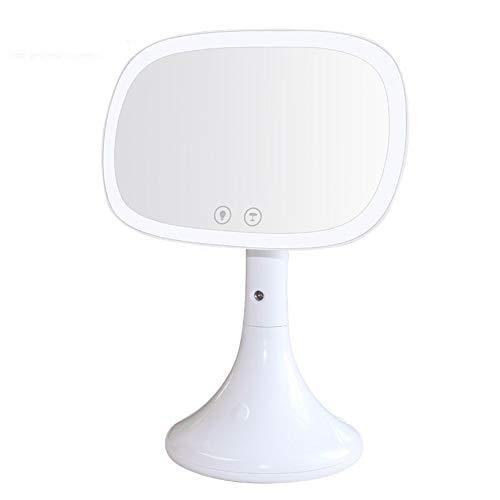 Dunhuangshilianfengshangmaoyouxiangongsi USB Desktop Kosmetikspiegel LED Beauty Feuchtigkeitsspendender Kosmetikspiegel Water Spray White Pink Cosmetic Mirror Makeup Vanity Mirror (Farbe : White) - Kratzfeste Arbeitsfläche