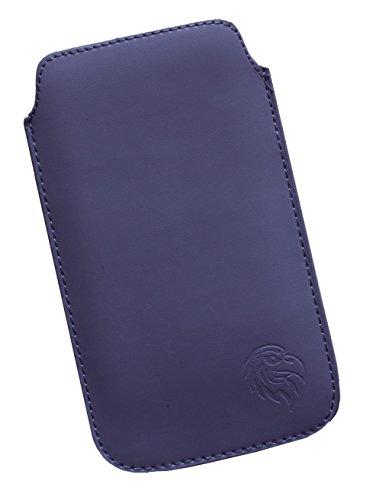 Schutz-Tasche passend fuer Samsung Galaxy S7, Pull-tab Handy-Huelle herausziehbar, Etui genaeht mit Rausziehband, duenne Tasche mit exklusivem Motiv Adler ML Dunkel-Lila
