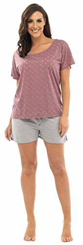 Tom Franks Femme Pyjamas - Etoiles Burnout Top avec Shorts Rose